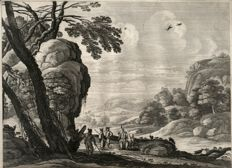 Gabriel Perelle (1603- 1677)  - Landscape with a group of  itinerant circus artists - Ca. 1660