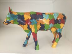 Cow Parade Cowparade - Puzzling Cow - Large - Resin - retired and rare!