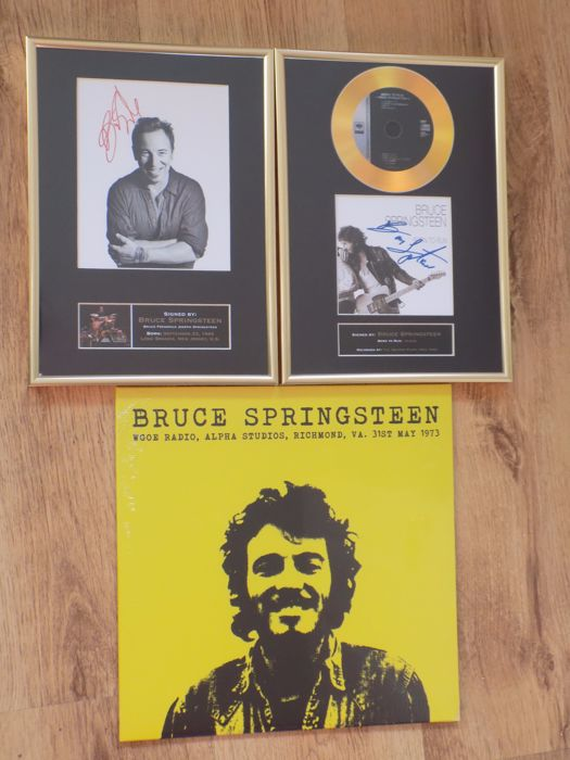 "Bruce Springsteen "" Wgoe radio "" LP , "" Born To Run "" framed CD and framed photo print with printed signature."
