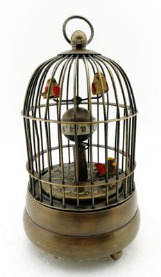 Table clock in the shape of a birdcage, with moving birds – period 2nd half 20th century