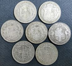 United Kingdom - ½ Crown 1920/1932 George V (7 pieces) - silver