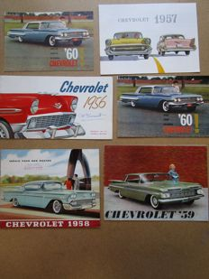 CHEVROLET - Lot de 6 brochures originales SEDAN, BEL AIR, CORVETTE, IMPALA, BYSCANE, IMPALA, Station wagons, NOMAD de 1956 à 1960