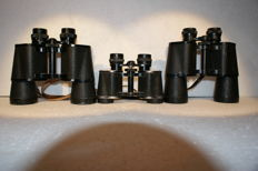 Three pairs of binoculars: BNU 7 x 50, binoculars from Korea 7 x 50 unknown brand and a Technica 8x30, various production dates