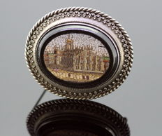 Victorian Sterling Silver, Onyx and Micro Mosaic Brooch, circa. 1880's