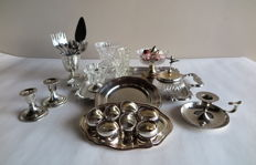 Party-table decor, 18-lot with ornate silver plated/crystal accessories: e.g. large tray, small trays, set of napkin rings, dishes, candlesticks, small vases