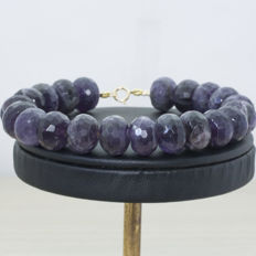 Faceted Amethyst bracelet with 18 kt Gold clasp and balls - Length 21 cm