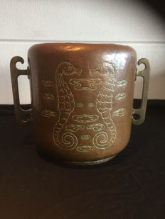 WMF - Hammered copper cache pot