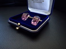 Vintage pair of silver 'Dress' cuff links, set with large facet cut Amethyst colour stone