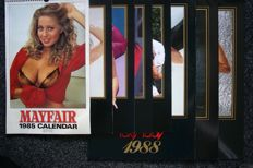 Calendars; Lot with 8 annual calenders from Mayfair and Foxy Lady - 1985/1992