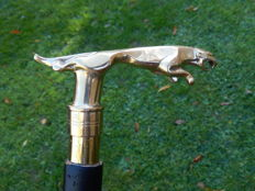 Vintage Original Jaguar Walking Stick with Gold Metal Finish Leaping Jaguar Mascot Handle