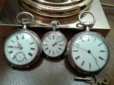 3 x pocket watches, double faced, 1850 - 1900, silver casing