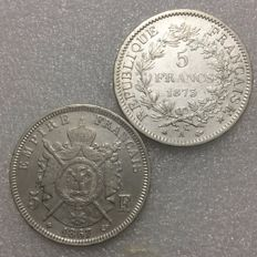 France – 5 Francs 1867-BB & 1873-A (2 coins) – Silver