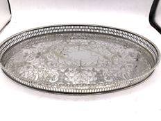 Large modified English silver plated tray with raised edge - Viners of Sheffield - The Cutlers Company 1836