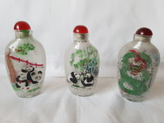Set of 3 glass snuff bottles  , China, 20th century