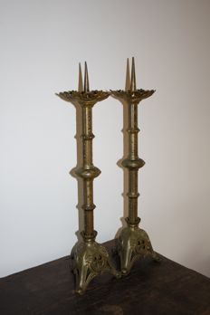 Set of 2 bronze French church candlesticks c. 1900