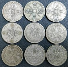 United Kingdom - Florins (Two Shillings) 1919/1946 George V and VI (9 pieces) - silver