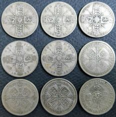 United Kingdom - Florins (Two Shillings) 1920/1945 George V and VI (9 pieces) - silver
