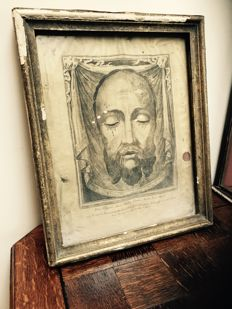 The Sacri Vultus 1888 - Holy Face Relic - Etching printed on linen with wax seal