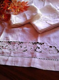 Hand-embroidered linen towels
