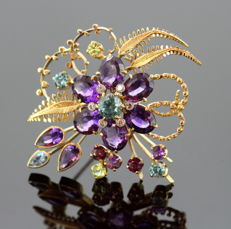 Vintage 18K Yellow Gold Brooch With Amethyst, Blue Topaz, Peridot, and Diamonds, By A&W Jewellery