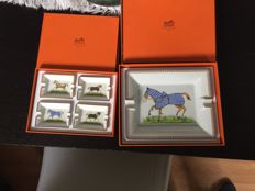 Hermes porcelain ashtray - a large ashtray and a series of four smaller ashtrays - depicting horses in blankets - Hermes, Paris, France