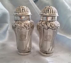 Pair of Victorian sterling silver crested salt & pepper pots, George Wish, Sheffield 1893