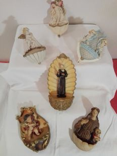 Beautiful lot of 6 ceramic holy water stoups: St Rosalia, Padre Pio, guardian angels (hand painted)