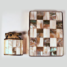Beautiful cigarette lighter + mother of pearl box, circa 1960