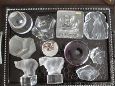 11 Colourless crystal paperweights - Belgium, Germany, Sweden, Norway, France