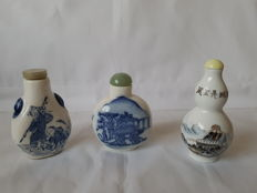 Set of 3 Chinese snuff bottles , China , 20th century , signed