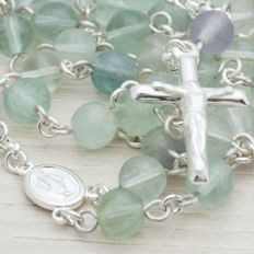 ROSARY made of fluorite beads and sterling silver.