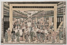 "Houtsnede ddor Torii Kiyomitsu 鳥居清満 (1735-1785) (herdruk) - ""Perspective print of the New Yoshiwara"" Japan - Meiji period (1868-1912)"
