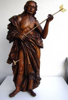 Wooden figure of Saint Sebastian - early Renaissance - ca. 1560-1600