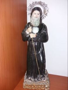 St. Francis of Paola, polychrome terracotta sculpture, Italy, 19th century