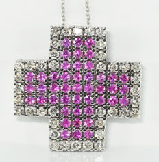 4.05 ct pink sapphire and 2.80 ct diamond cross pendant in 18 kt white gold ** no reserve **