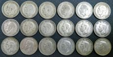 United Kingdom - Shilling 1920/1946 George V and VI (18 pieces) - silver