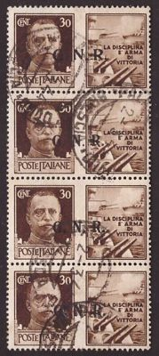 "IRSI – 30 c. War Propaganda ""Marina"" from 1943, vertical strip of four, used, with two different types of GNR Brescia overprints – Sass. 17/I and 17/II."