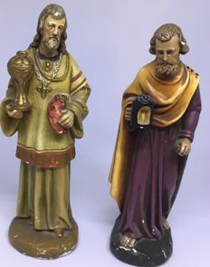 Antique pair of plaster statues for nativity scenes - Italy, 1900s