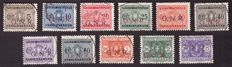 Italy 1943 – RSI (Italian Social Republic), series of postage due, GNR overstamp, from Brescia, cancelled – Sassone n. 47/I-57/I