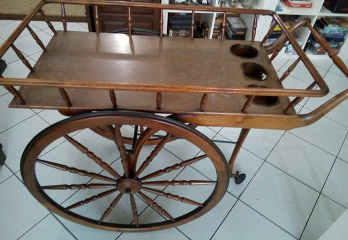 Royal Cart on wheels - England - mahogany wood and brass - very prestigious piece and display
