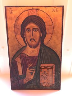 Icon Christ Pantocrator painted on wood - 20th century