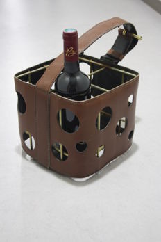 Attributed to Jacques Adnet (1901–1984) - Brown leather bottle holder.