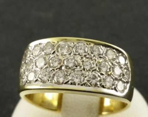 585 yellow gold - brilliant ring - diamond - ring size: 48 - in total 1.00 ct.