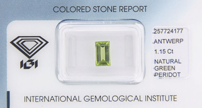 Peridot - yellowish green - 1.15 ct - no reserve