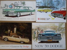 DODGE - Lot de 4 brochures originales Lancer,Coronet, Sierra Station wagon, Polara, Dart de 1958 à 1961