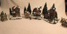 Christmas houses, churches and trees by Lemax