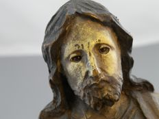 Antique polychrome wooden sculpture in the round of Christ Pantocrator, 19th century
