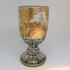 Faceted Crystal Hunt Cup on round base - Bohemia - circa 1900