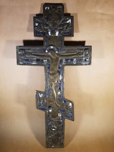 Large cross crucifix icon brass/bronze enamel hand carved - Russia - 18th century
