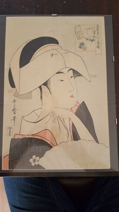 Woodcut by Kitagawa Utamaro (1753–1806) (reprint) - 'Tomimoto Toyohina' from the series 'Renowned Beauties Likened to the Six Immortal Poets' - Japan - Early 20th century